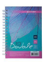 Блокнот DOUBLE, А-6 96л., пружина, клітинка, тв. картонна обкладинка, асорті