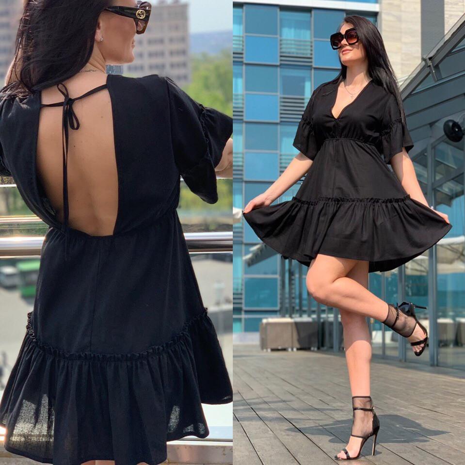 Летнее платье с юбкой от груди  и открытой спиной