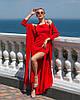 Платье женское стильное шелк Армани в пол с разрезами и накидкой разные цвета Smf3195