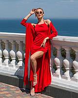 Платье женское стильное шелк Армани в пол с разрезами и накидкой разные цвета Smf3195, фото 1
