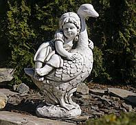 Садовая скульптура Девочка с гусем 40X25X60 cm SS12004-58 цвет бежевый., фото 1