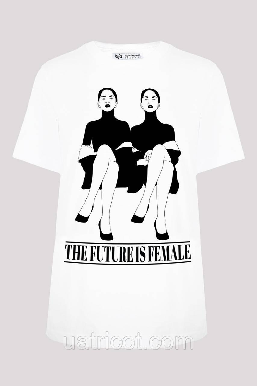 Футболка женская KIFA ФЖ-019/13 THE FUTURE IS FEMALE белая