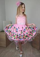 Розовое выпускное платье со шлейфом на девочку 4-10 лет