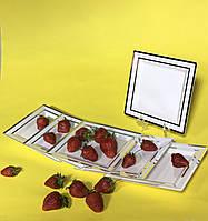 Тарелки квадратные пластиковые для фуршета выездного  банкета праздничный стол CFP 6шт 190мм