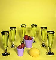 Бокалы пластиковые шампанское просекко игристое вино одноразовые  фуршет выездной банкет кетеринг CFP 6шт 130м