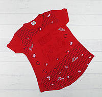 """Детская футболка для девочек """"Only girls"""" 8,9,10,11,12 лет красный"""