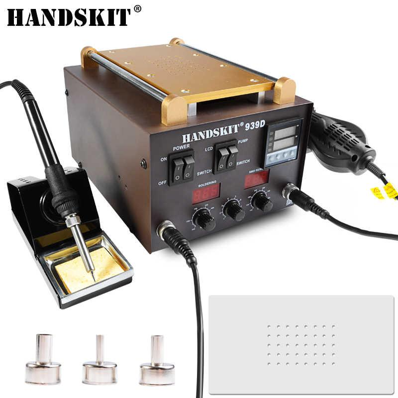 Паяльная станция 3в1 HandsKit 939D (паяльник+фен+сепаратор), 3 дисплея
