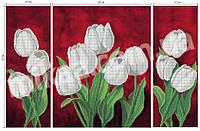 """Схема для частичной вышивки бисером - Триптих """"Белые тюльпаны"""""""