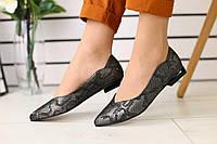 Женские балетки летние классические стильные качественные на маленьком каблуке (черные), фото 1
