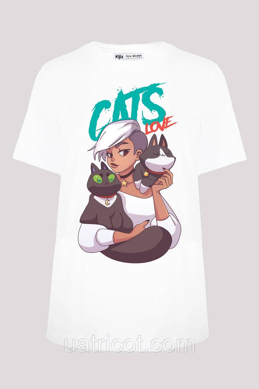 Футболка женская KIFA ФЖ-019/13 CATS LOVE № 2 белая