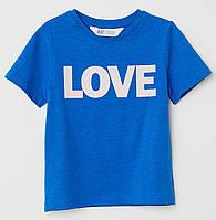 Футболка синяя Love, H&M, 0621767