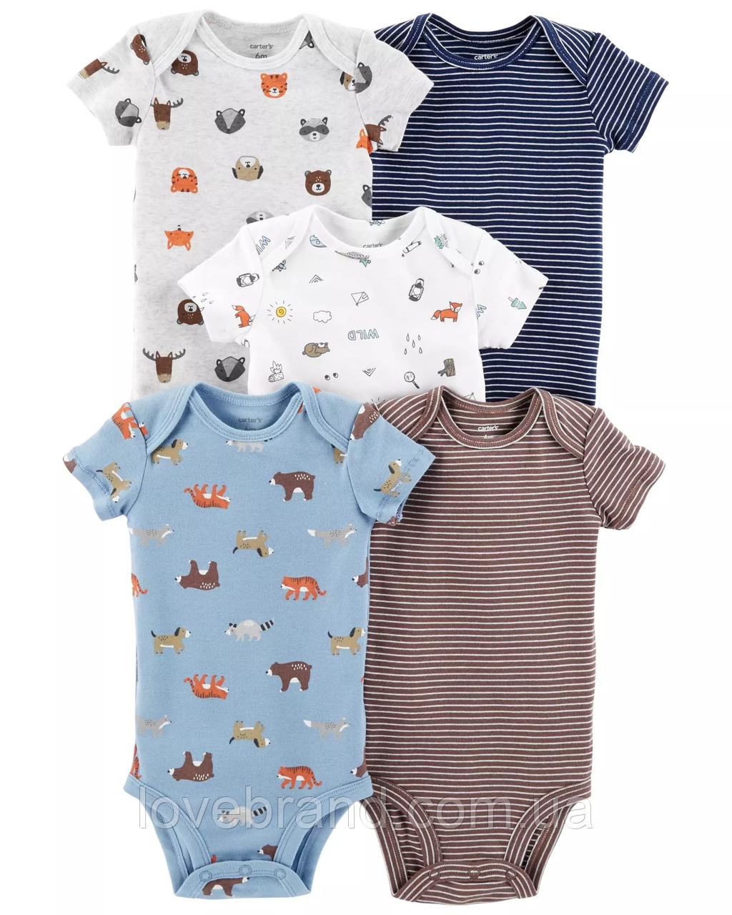"Набор боди футболка на короткий рукав 5 шт""Зверушки"" Carter's 9 мес/67-72 см бодики маечка для малыша картерс"