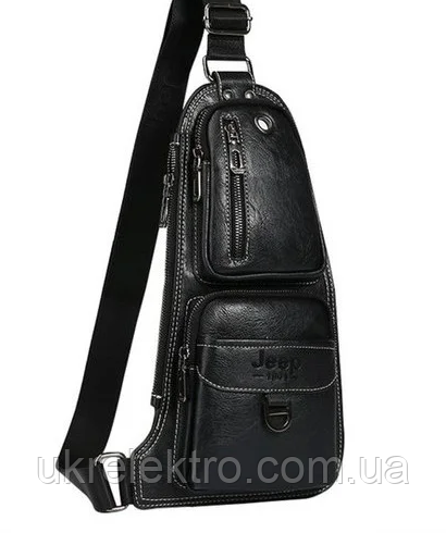 Сумка мужская  черная JEEP 777 BAGS   Джип 777   кожаная сумка   сумка через плечо
