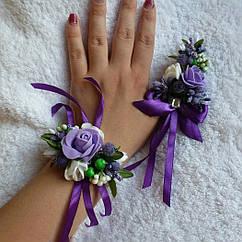 Бутоньерки свадебные в фиолетовом цвете набор