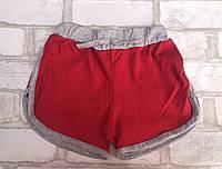 Детские шорты для девочки от 5 до 8 лет,красного цвета с серыми вставками, фото 1