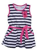 Детское платьев полоскудля девочки от годикадо 10лет тёмно синее с белым