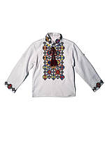 Детская белая льняная рубашка для мальчика с вышивкой Мозаика Piccolo L