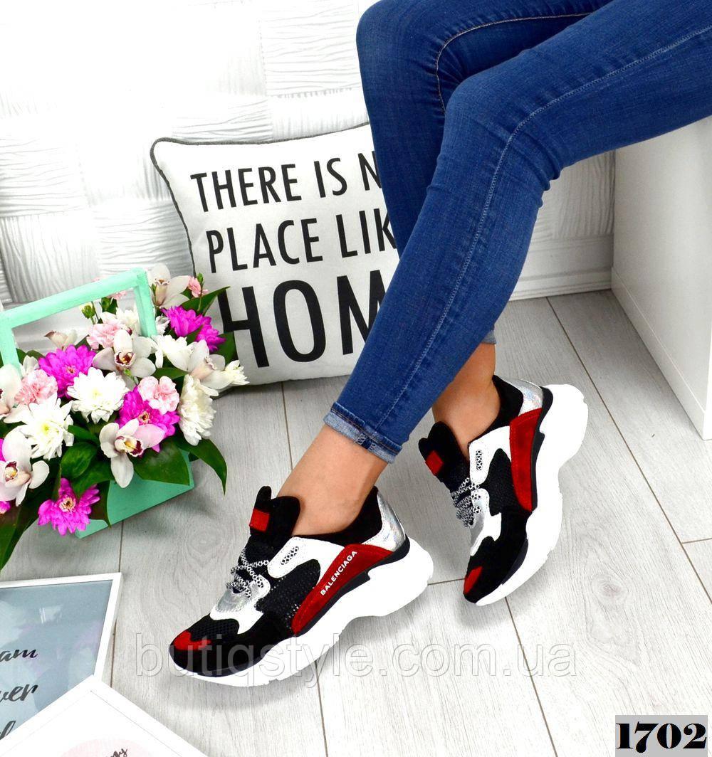 36 размер Женские кроссовки Balenci@ga  черный+красный натуральная замша+кожа