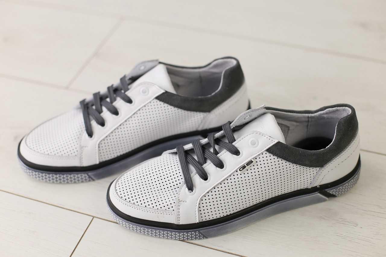 Мужские кожаные кеды весенние стильные удобные легкие на шнуровке (белые), ТОП-реплика