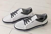 Мужские кожаные кеды весенние стильные удобные легкие на шнуровке (белые), ТОП-реплика, фото 1