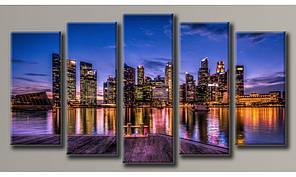 Модульная картина Город на закате 71х128 см (HAB-044)