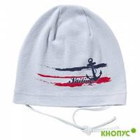 Трикотажная шапка для мальчика светло-серая с аппликацией на морскую тематику, без завязок , Jamiks, Польша, 5