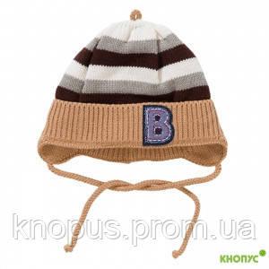 Демисезонная вязаная шапка с завязками на хлопковой подкладке для мальчика, Jamiks, Польша, 44 см