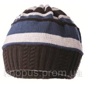 Вязаная шапка на хлопковой подкладке для мальчика  в полоску, Jamiks, Польша, 50 см