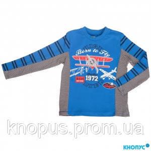 """Синяя футболка  с длинным рукавом """"Самолёт"""" Ginkana, Испания, размеры 68, 80"""