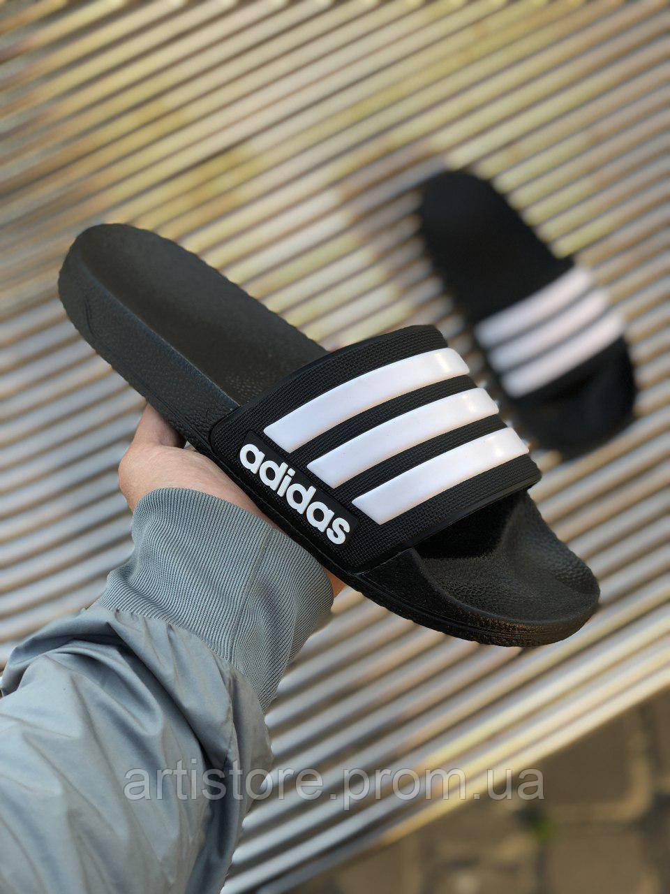 Сланцы Adidas Adilette Black with white Черные с белым