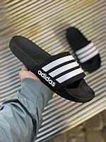 Сланцы Adidas Adilette Black with white Черные с белым, фото 1
