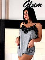 Пижама майка с кружевом и шорты из вискозы, натуральные женские пижамы., фото 1