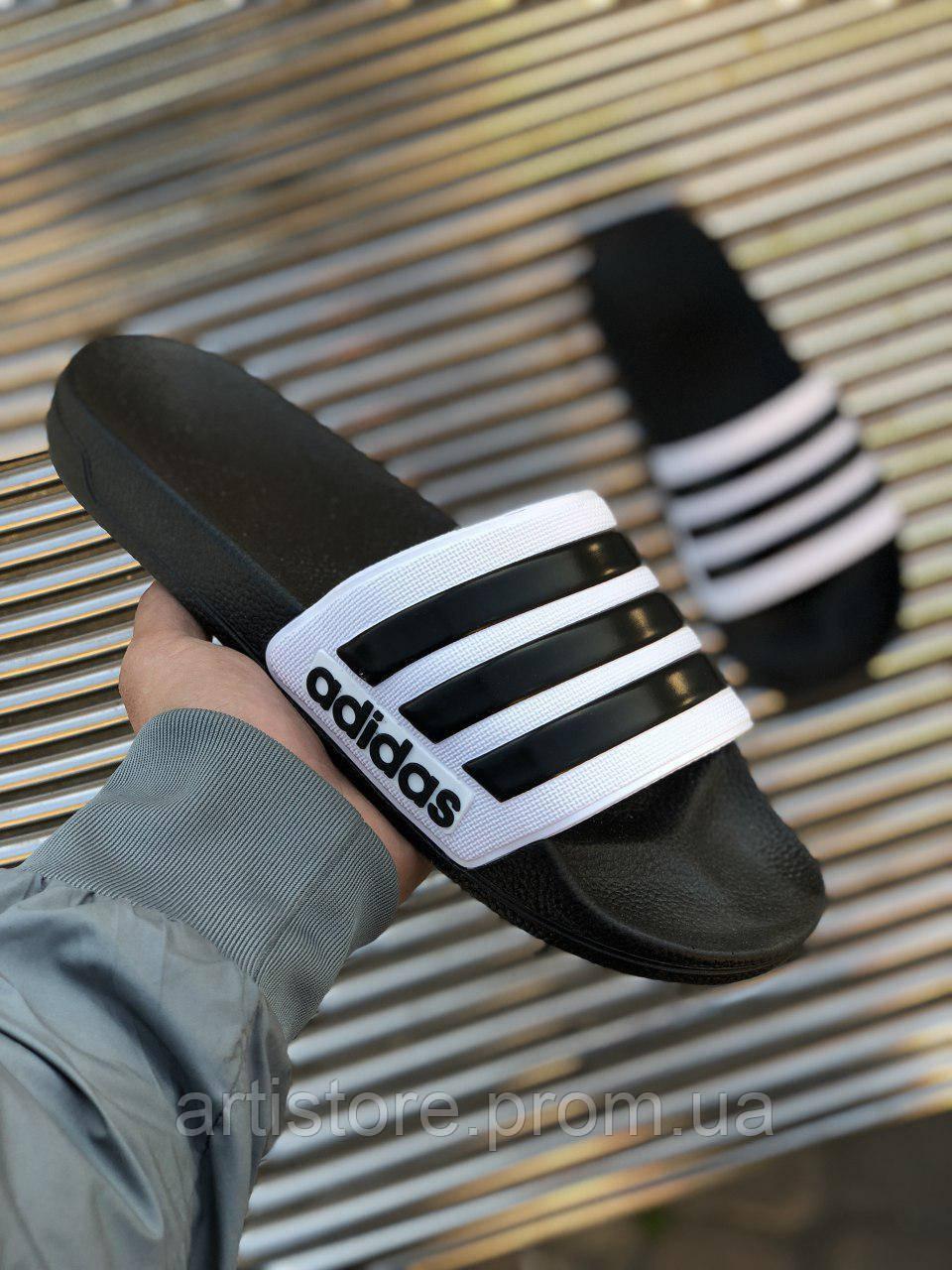 Сланцы Adidas Adilette White with black Белые с черным