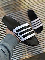 Сланцы Adidas Adilette White with black Белые с черным, фото 1