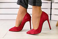 Туфли женские летние  замшевые модные стильные на высокой шпильке (красные), фото 1