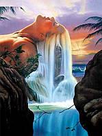 Алмазная живопись Душа водопада 40 х 30 см (арт. FS873) квадратные камни, фото 1