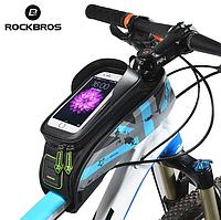 """Велосипедная сумка на раму ROCKBROS 021-1BL для смартфонов до 6"""""""