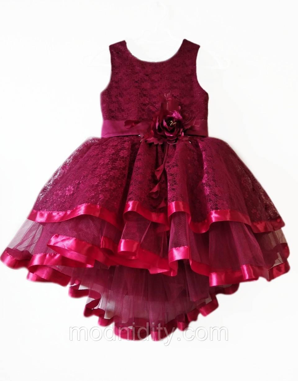 3e5cb07dc690326 Детское нарядное бордовое платье для девочки 5 - 7 лет
