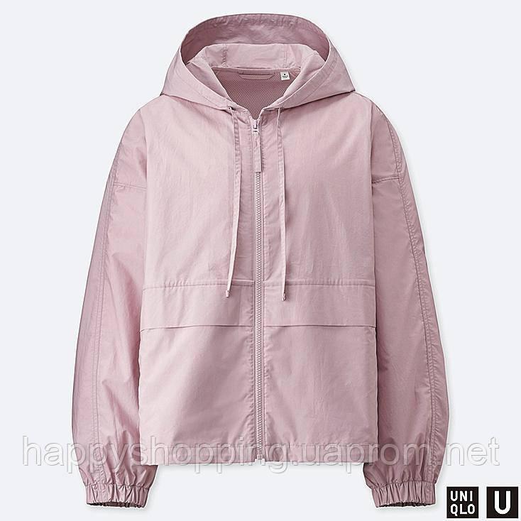 Женская лиловая куртка ветровка с капюшоном Uniqlo
