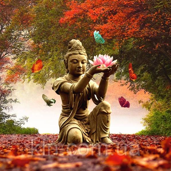 Алмазная живопись В гармонии с Буддой 40 х 40 см (арт. FS874) квадратные камни