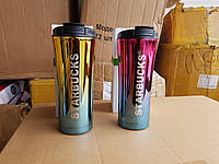 """Кружка термос """"Starbucks"""", двухцветная с трубочкой и поилкой !!!"""