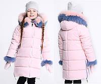 Красивая Зимняя Куртка с Шикарным Мехом Песца для Девочки Персиковая Рост 122-158 см
