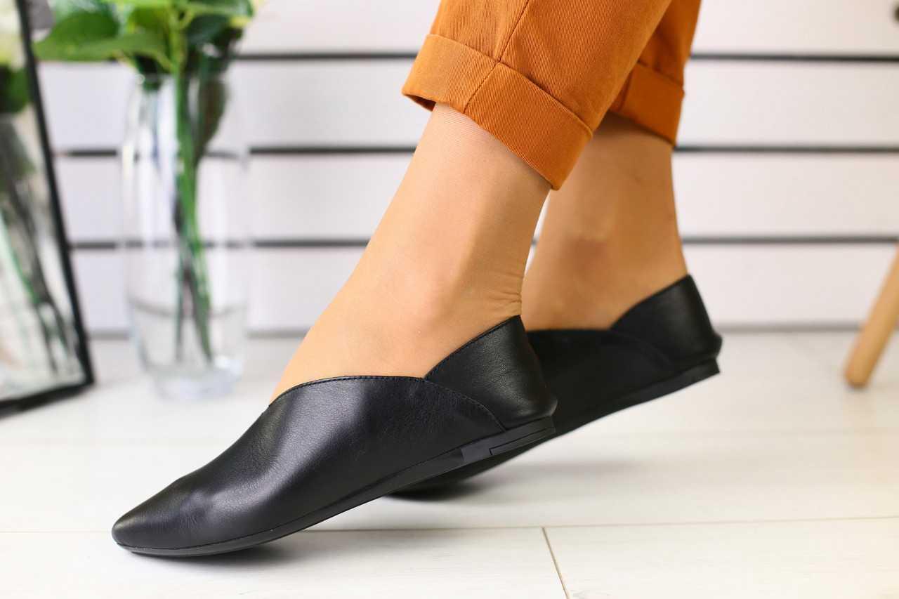 Летние женские туфли-алладинки из кожи классические модные удобные в черном цвете