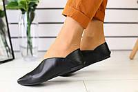 Летние женские туфли-алладинки из кожи классические модные удобные в черном цвете , фото 1