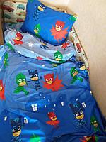 Комплект постельного белья  в кроватку (манеж) Герои в масках, ранфорс Lux, фото 1