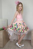Яркое платье со шлейфом на выпускной для девочки 4-10 лет