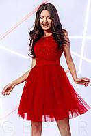 Модное платье мини пышная юбка с фатином без рукав с поясом красного цвета