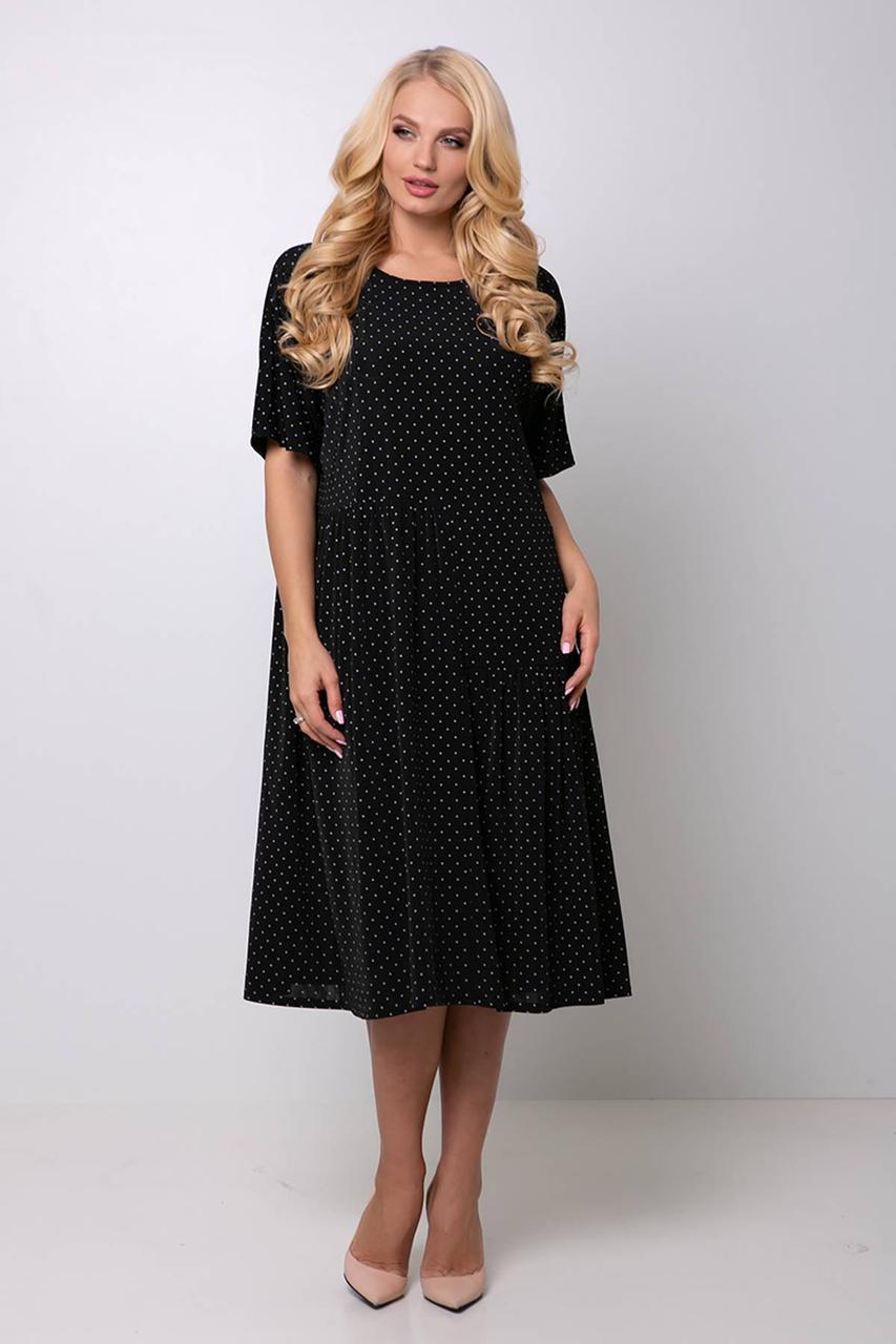 Платье свободного кроя черное в мелкий горох 54,56,58,60