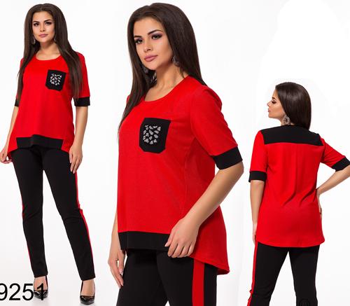 Модный брючный костюм + блузка с лампасами (красный) 829251