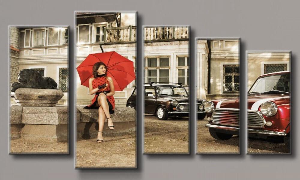 Модульная картина Девушка под зонтом 71х128 см (HAB-114)